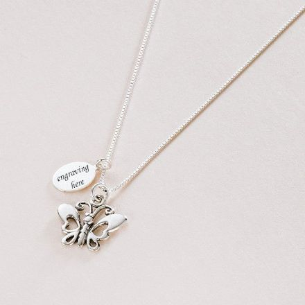 Silver Butterfly Necklace with Engraving